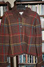 Michael Simon vintage Brown Plaid Cardigan Sweater Ladies L  (bin107)
