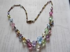 VINTAGE FACETED MULTICOLOURED GLASS TWIN STRAND GRADUATING NECKLACE L603-13