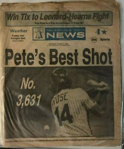 PETE ROSE PHILA. PHILLIES HEADLINE Phila. Daily News August 11, 1981 HIT #3,631