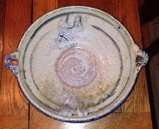 "10.5"" Handled Pottery Bowl, Impressed Ap Mark, Fish Design"