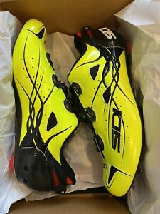 SIDI Shot Vent Carbon Cycling Shoe Glow Yellow/Black NEW 44