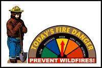 "FIRE DANGER WARNING SIGN GAUGE ADJUSTS! 8""X12"" METAL SMOKEY BEAR FOREST SERVICE"