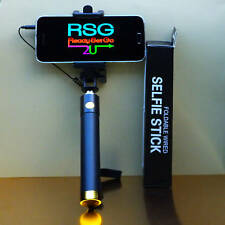 Black/Gold Foldable WIRED SELFIE STICK Extends 80 cm Wrist strap iPhone+Android