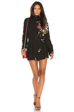Free People Gemma Black floral Mock neck V back Tunic TOP Small /M NEW With TAGS