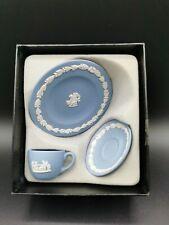 Wedgwood Jasperware Blue Miniature Trio Set Tea Cup and Saucers. Doll House