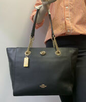 COACH NWOT Women's Pebbled Turn-Lock Chain Black Tote 27 (57107) - Free Shipping