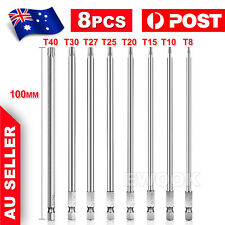 8x T8-T40 Torx Screwdriver Bit Set Hex Security Magnetic Head 100mm Long