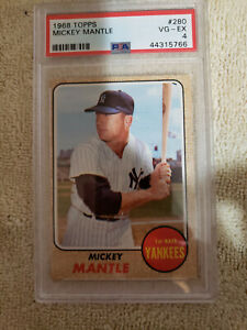 1968 Topps Baseball Mickey Mantle Card #280 PSA Rated 4 (VG-EX)