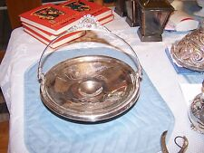Antique Ornate Triple Plate Silver Serving Bowl Tray Cake Basket Handled Etched