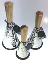 Cheese Graters Stainless Steel Set Of 3 With Acacia Wooden Handle