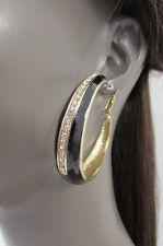 Women Gold Metal Classic Hoop Fashion Earrings Set Bling Rhinestones Black Color