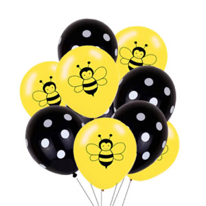 12 Pack Bee Theme Premium Balloons Bumble Honey Bees Party Decor Black Dots