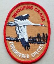 Vintage Whooping Crane Endangered Species Patch