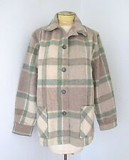 VGC Vtg Bemidji Green Beige Plaid Wool Blanket 49er Jacket Rockabilly Coat 40