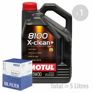 Engine Oil and Filter Service Kit 5 LITRES Motul 8100 X-Clean+ 5W-30 5W30 5L
