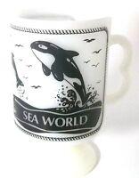 Federal Milk Glass SEA WORLD Pedestal Coffee Cup Mug B Handle Orca Shamu