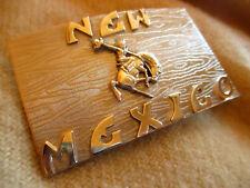 True Vtg 50s NEW MEXICO BEAU Geste POlished Copper Western Cowboy Belt Buckle