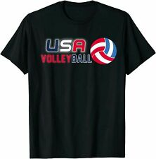 New listing USA Flag Volleyball T-Shirt Funny Birthday Cotton Tee Vintage Gift For Men Women