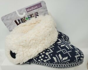 Muk Luks Luk EES Knit  Slippers Faux Fur Lining Womens Medium 7/8