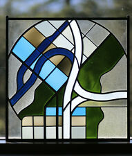 """Leaded Glass, Stained Glass Panel 27""""X27"""" - Real Antique Glass"""