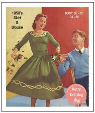 Anni 1950 Rock N Roll Gonna E Girocollo Maglione A Maglia Pattern-copia