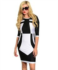 SZ SMALL WOMEN BLACK & WHITE GEO BODYCON COLOR BLOCKED 3/4 SLEEVE CASUAL DRESS