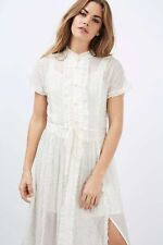 NWT TOPSHOP Embellished Short Sleeve Ruffle Shirt Dress Ivory EUR 32, US 2, UK 6