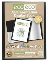 eco-eco A4 50% Recycled 60 Pocket Black Folder Presentation Display Book