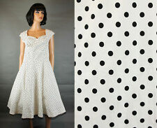 50's Style Party Dress L Black White Polka Dot Pin Up Girl Rockabilly Swing NWT