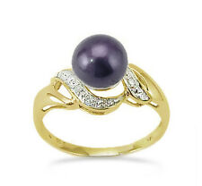 14K Pearl Ring 14K Yellow Gold Black Pearl & Diamond Accent Ring .05ct