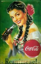 Plaque Emaillée Embossée Coca Cola Coke Reanimese (hi 3020)