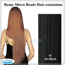 """24"""" India Remy Micro Beads Hair extensions 100pcs #1Jet Black DOUBLE DRAWN"""