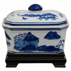 "Oriental Furniture 8"" Landscape Blue & White Porcelain Covered Jar"