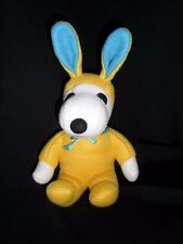 "Peanuts Plush Snoopy Dog Yellow Bunny 8"" Determined Products Easter"