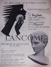 PUBLICITÉ 1957 LANCÔME NÉO-SATIN ROUGES A LÈVRES ET MAQUIVIT - ADVERTISING