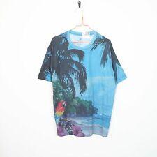 Vintage CARIBBEAN Big Logo Graphic T Shirt Tee Blue Large L