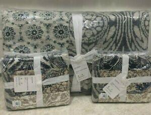 Pottery Barn Tessa handcrafted patchwork FULL QUEEN quilt 2 standard shams