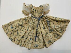 Vintage Madame Alexander Doll Cissy Blue Floral Dress w/ Tulle Sleeves VGC
