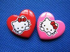 20 Resin Heart hello kitty Print Button Craft/Flatback-2 Colors