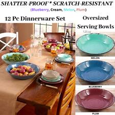 Vintage Aged Ceramic Rustic Distressed Dinner Plate Saucer Serving Bowl Set Nib