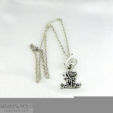NEW I LOVE MY SOLDIER RHINESTONE CHARM SILVER NECKLACE TOGGLE CLASP MILITARY