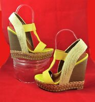 "Women's Boutique 9 Stretch Wedges Yellow Summer Sandals 5.5"" Heel US Sz 7 EUC"
