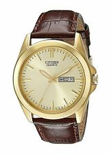 CITIZEN BF0582-01P Quartz Day Date Stainless Steel Gold Brown Leather Mens Watch