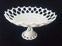 Vintage WESTMORELAND Milk Glass COMPOTE BOWL Footed Pedestal Open Lace China