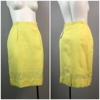 Vintage NOS Deadstock 1960s Yellow High Waist Chino Style Pencil Skirt Unworn XS