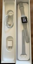 Apple Watch Series 3, 38mm, Silver, A1858 W/Gray Silicone Band In Box