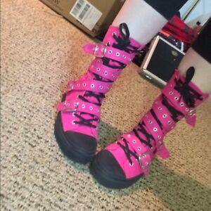 Demonia Deviant 204 Pink canvas boots, size 9 US Women's