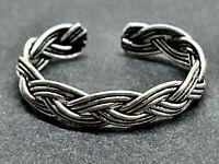 Toe Ring Celtic Knot Braid Oxide 925 Sterling Silver Adjustable Summer Toe Ring