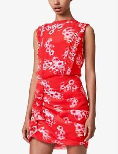 AllSaints Hali Jasmine Floral Mini Dress Red Size UK 12 BNWT £188