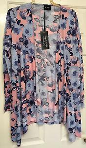 Beautiful You Size 12 Womens Waterfall Floral Print Cardigan